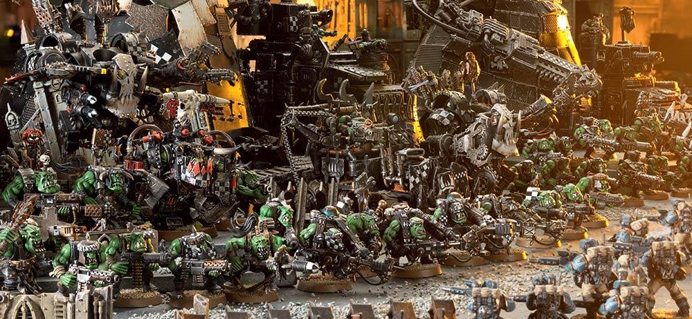 Figurine Ork et Astra Militarum bien soclé