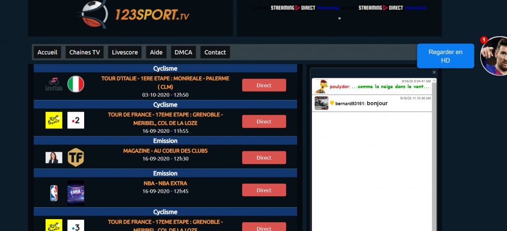 Site de streaming 1 2 3 sport