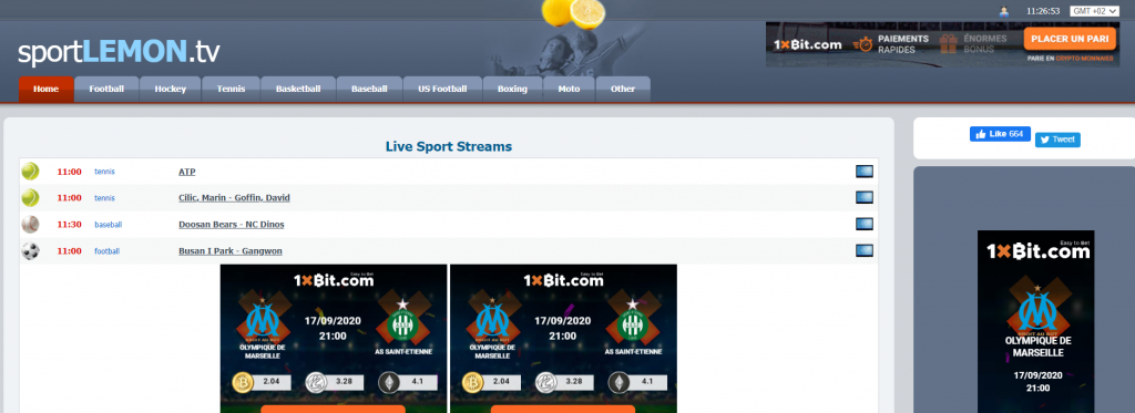 Site de streaming sport foot Sport Lemon