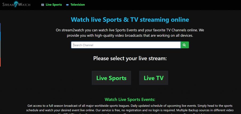 Stream2wtch site pour regarder match