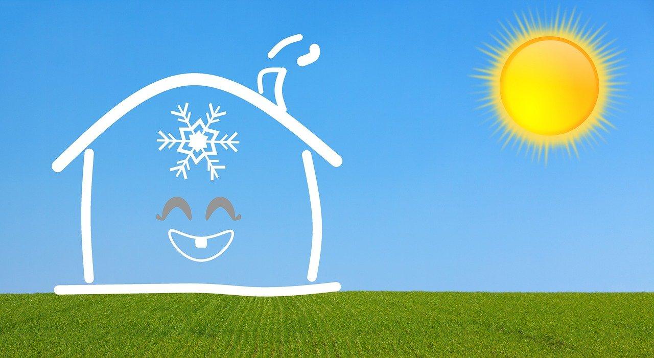 Dessin d'une maison heureuse frais à l'intérieur, chaud à l'extérieur soleil