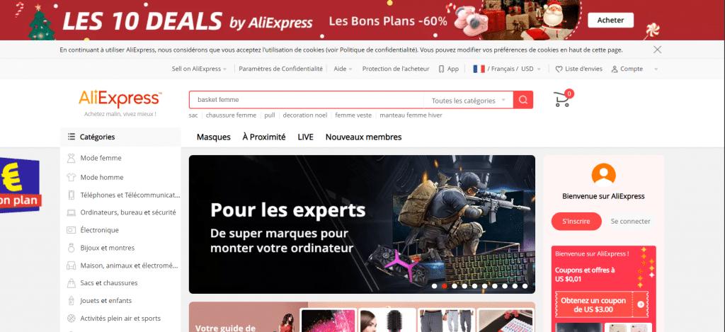 Page d'accueil du site chinois Aliexpress
