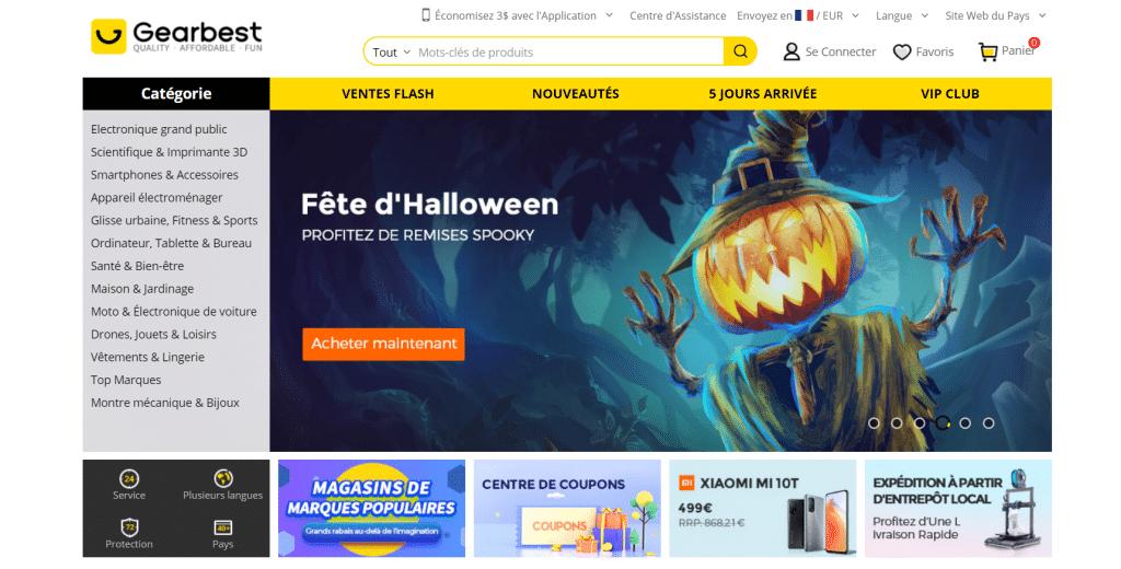 Page d'accueil du site tech chinois Gearbest