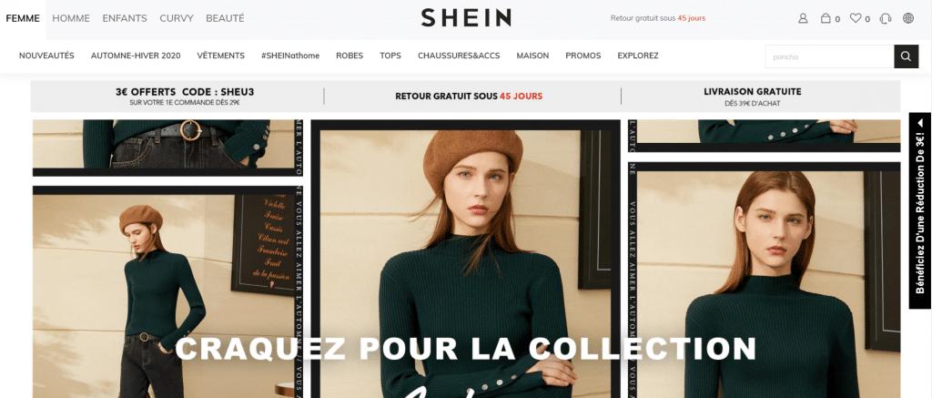 Page d'accueil du site de vente de vêtement chinois Shein