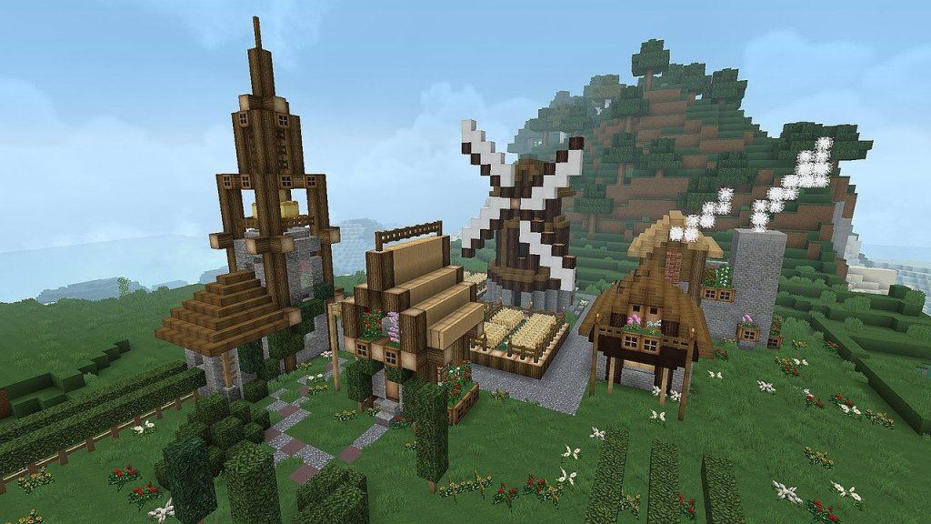 Ville construite dans l'univers du jeu vidéo Minecraft