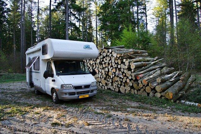 un camping car dans la forêt