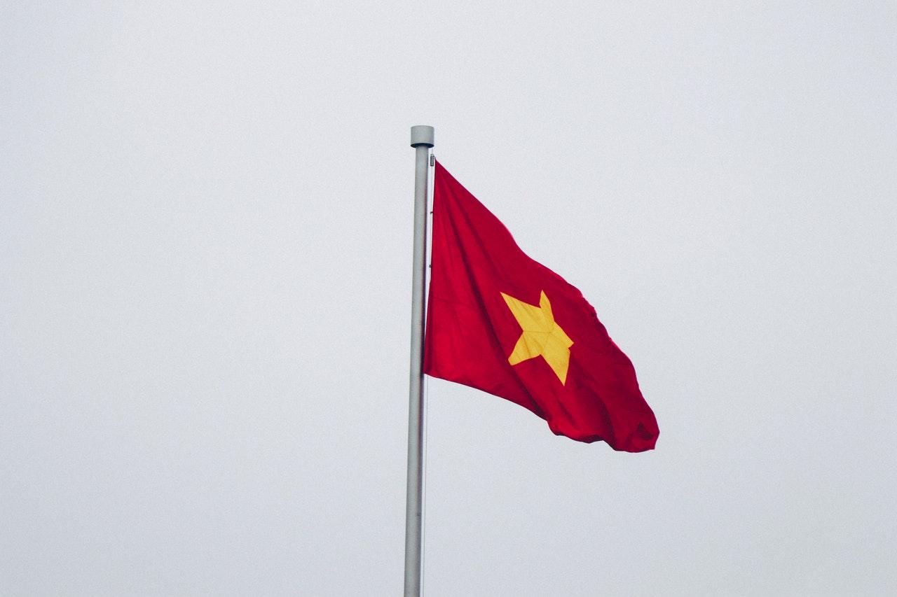 Drapeau Vietnamien, du Vietnam, rouge avec une étoile jaune