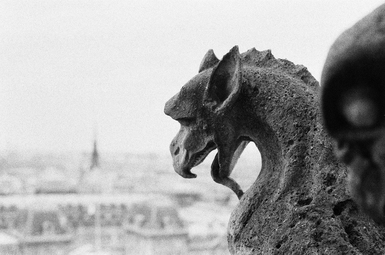 Photo en noir et blanc d'une gargouille, dragon Notre Dame de Paris