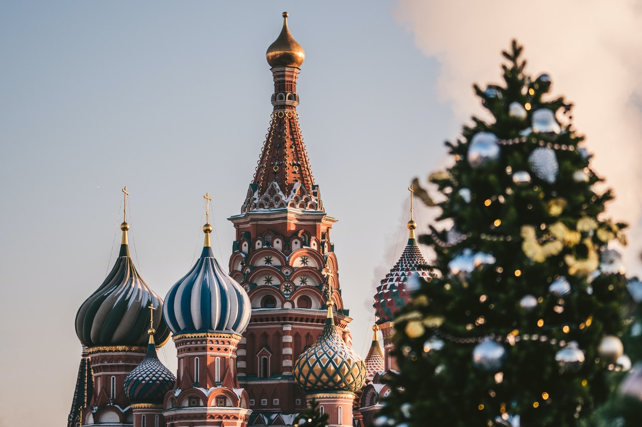 Palais orthodoxe, typique de Russie, sapin de noël