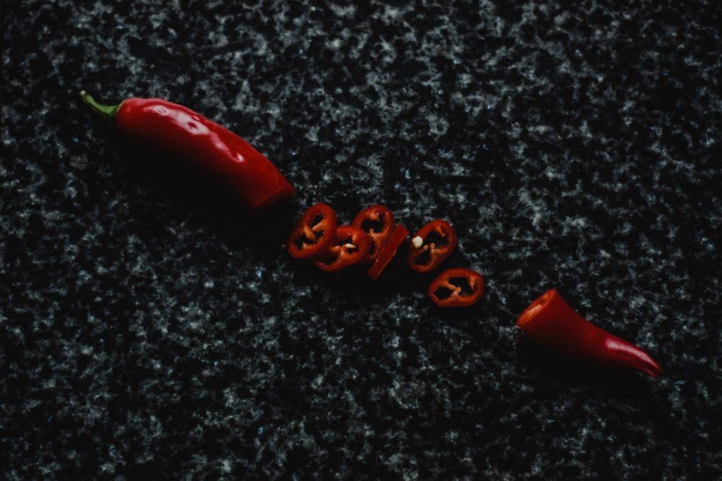 Piment coupé en rondelle piment rouge