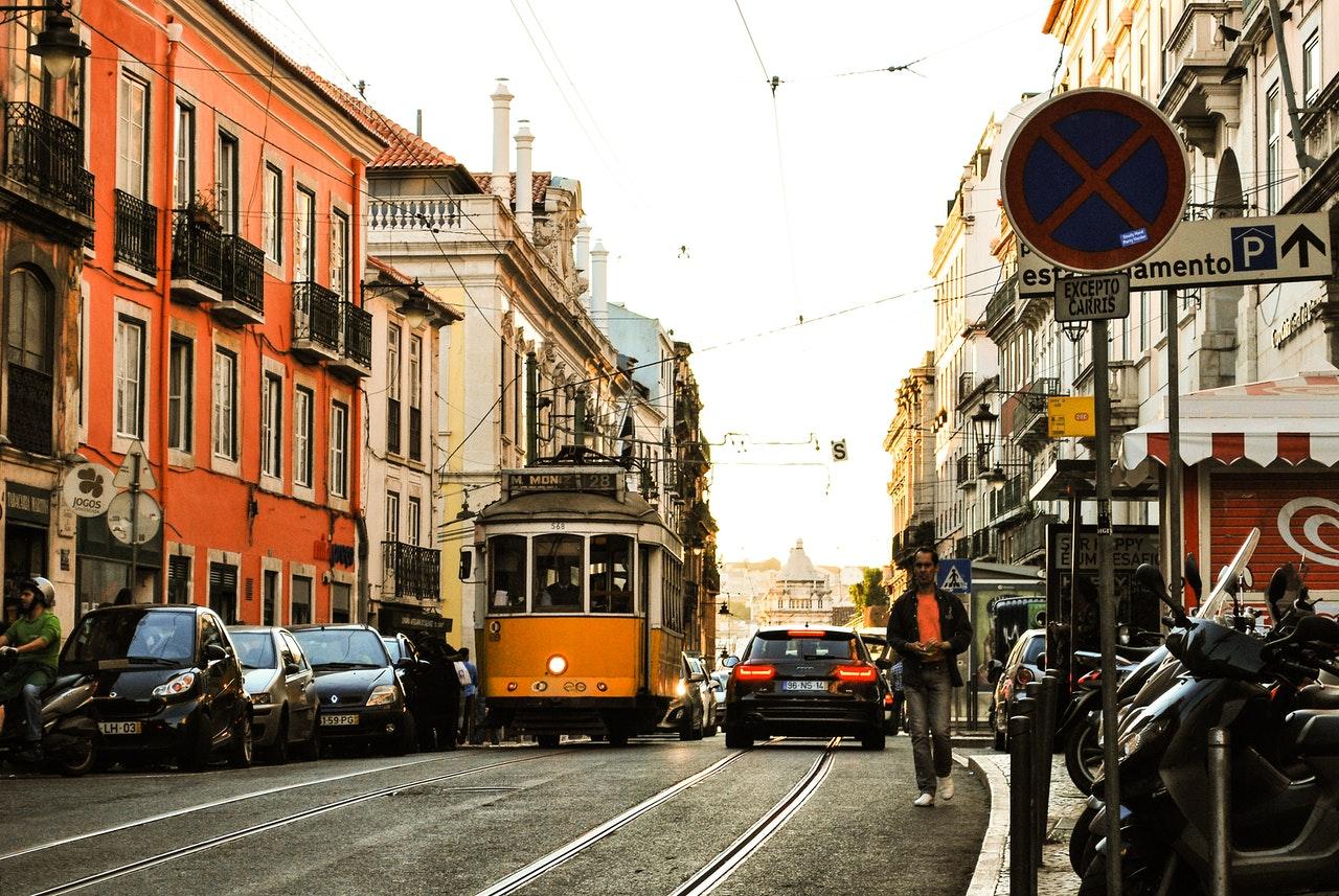 Portugal tramway orange typique