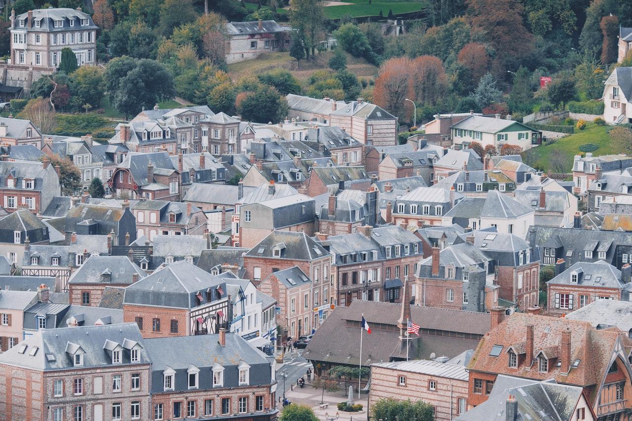 Ville citadin, toiture, vue du ciel