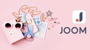 Logo de la boutique Joom, sur fond rose, bijoux, maquillage, mode shopping boutique chinoise