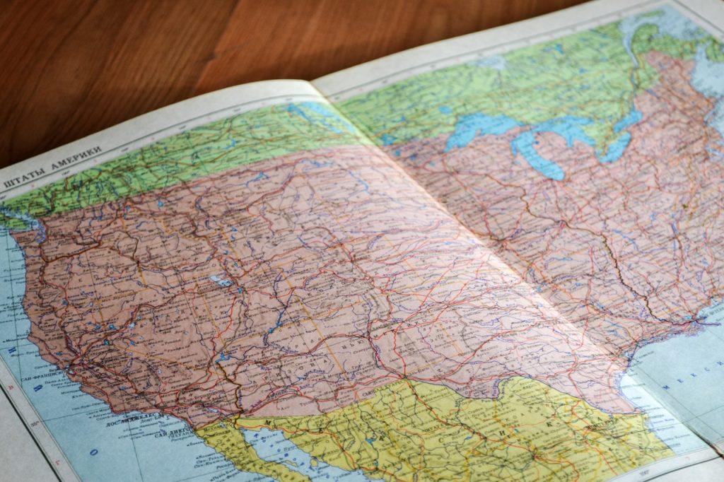 Carte, map des Etats-Unis